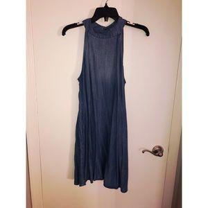 Cloth and Stone - Denim High Neck Trapeze Dress